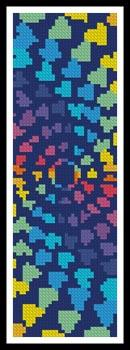 click here to view larger image of Abstract Rainbow Heart Design Bookmark (chart)