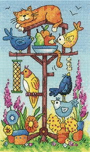 click here to view larger image of Bird Table - Birds Of A Feather (27ct) (counted cross stitch kit)