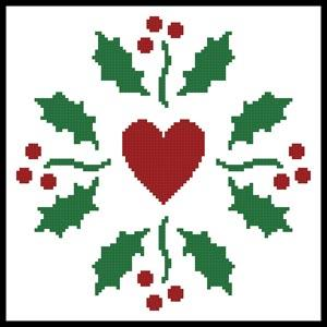 click here to view larger image of Christmas Holly Heart  (Joni Prittie) (chart)