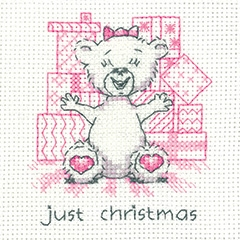 click here to view larger image of Just Christmas - Justin Bear Cards (counted cross stitch kit)