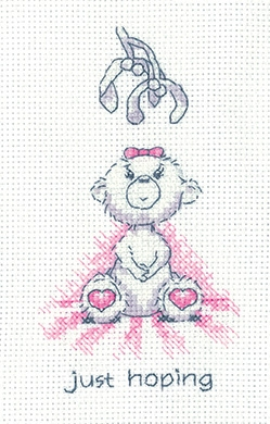 click here to view larger image of Just Hoping - Justin Bear Cards (counted cross stitch kit)