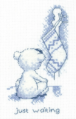 click here to view larger image of Just Waiting - Justin Bear Cards (counted cross stitch kit)