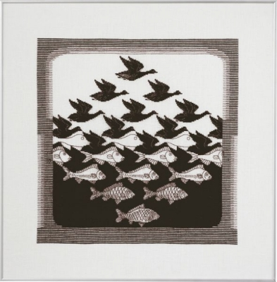 click here to view larger image of Bird/Fish Dark Grey (counted cross stitch kit)