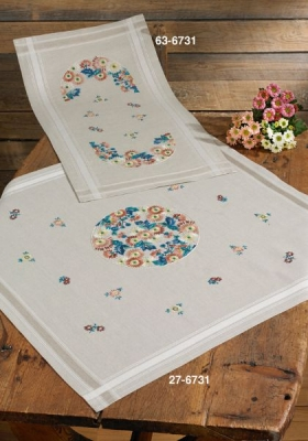 click here to view larger image of Mill Fleur - Table Cloth (stamped cross stitch kit)