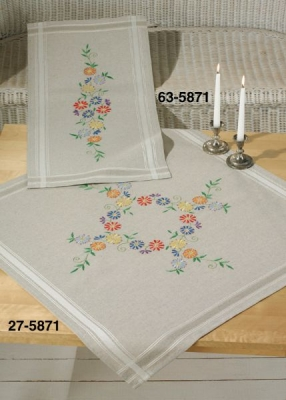 click here to view larger image of Flowers Fresh Colors - Table Cloth (stamped cross stitch kit)