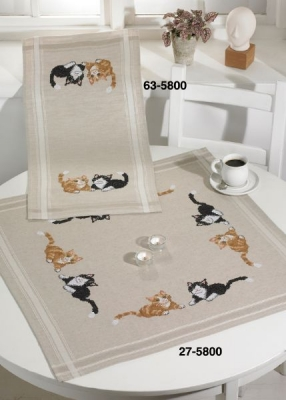 click here to view larger image of Cat - Table Cloth (stamped cross stitch kit)