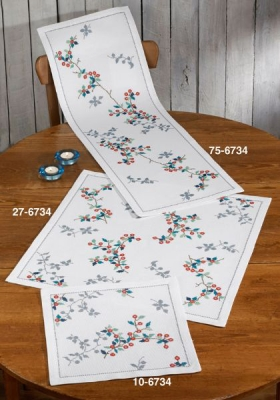 click here to view larger image of Branch With Berries - Table Cloth (counted cross stitch kit)