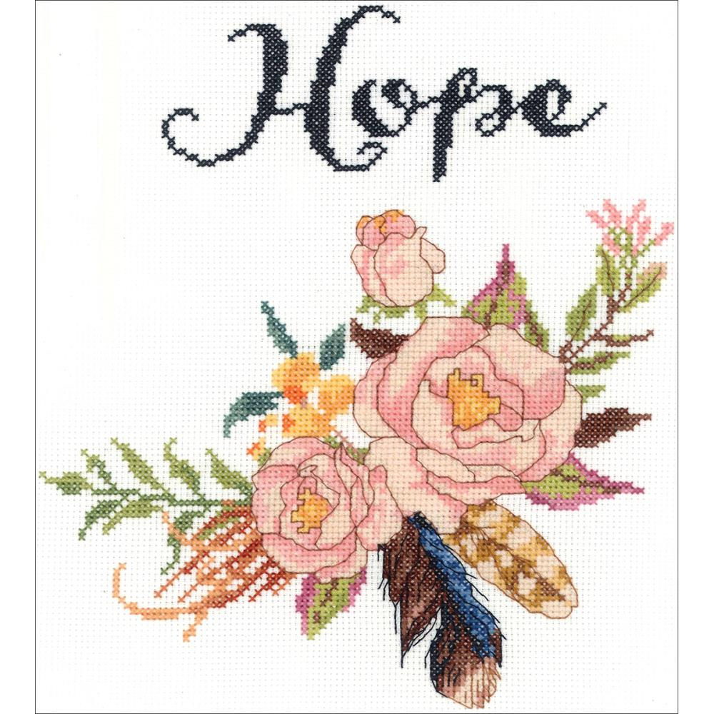 click here to view larger image of Watercolor Flowers Hope (counted cross stitch kit)