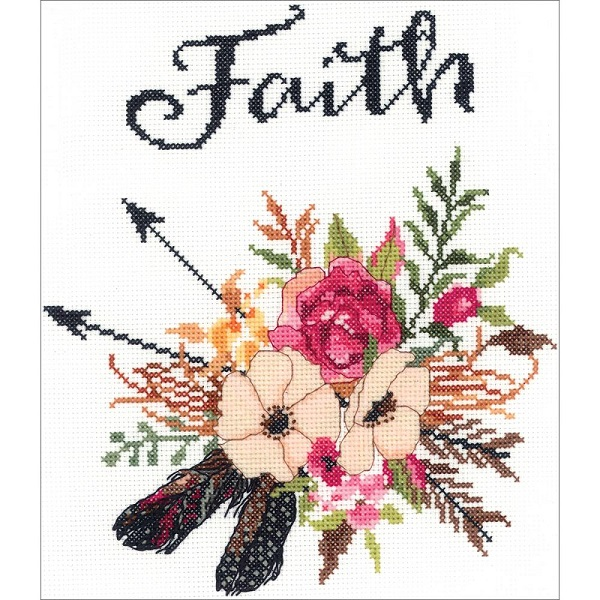 click here to view larger image of Watercolor Flowers Faith (counted cross stitch kit)