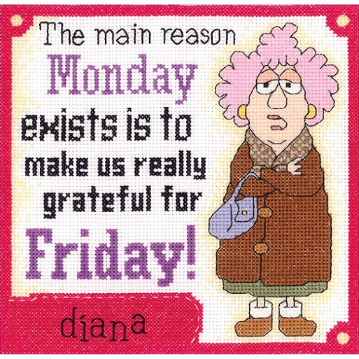 click here to view larger image of Aunty Acid - Grateful For Friday (counted cross stitch kit)