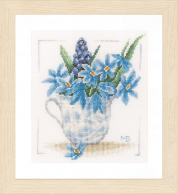 click here to view larger image of Blue Flowers (counted cross stitch kit)