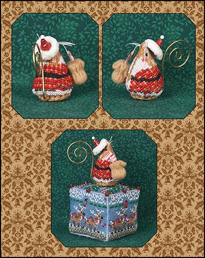 click here to view larger image of Gingerbread Santa Mouse - Limited Edition Ornament (chart with charms/buttons)