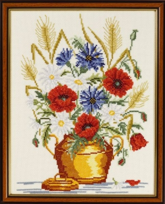 click here to view larger image of Poppies Cornflower (counted cross stitch kit)