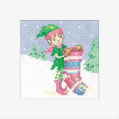 click here to view larger image of Elf With Stocking - Christmas Cards (counted cross stitch kit)