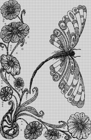 click here to view larger image of Dragonfly With Flowers (chart)