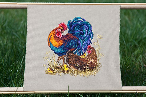 click here to view larger image of Rooster and Hen (counted cross stitch kit)