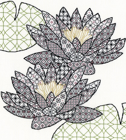 click here to view larger image of Blackwork Water Lily (counted cross stitch kit)