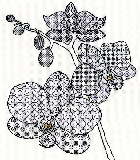 click here to view larger image of Blackwork Orchid (counted cross stitch kit)