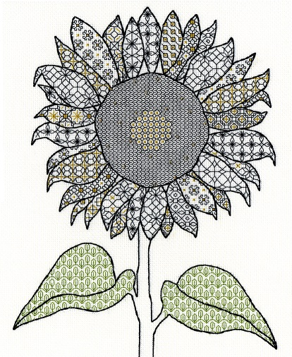 click here to view larger image of Blackwork Sunflower (counted cross stitch kit)