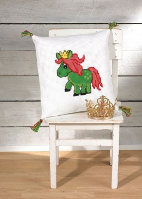 click here to view larger image of Green Horse Pillow (counted cross stitch kit)