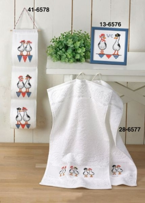 click here to view larger image of Crazy Seagulls Towels (2 towels) (stamped cross stitch kit)