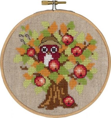 click here to view larger image of Autumn Owl With Hoop (counted cross stitch kit)