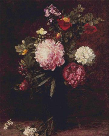 click here to view larger image of Large Bouquet With Three Peonies (Henri Fantin-Latour) (chart)