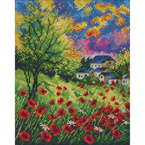 click here to view larger image of Run Away Poppies (counted cross stitch kit)
