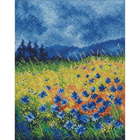 click here to view larger image of Skyblue Cornflowers (counted cross stitch kit)