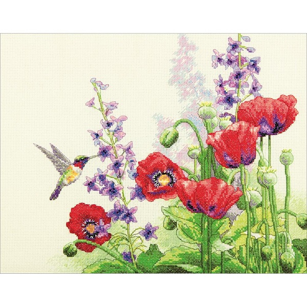 click here to view larger image of Hummingbird and Poppies (counted cross stitch kit)