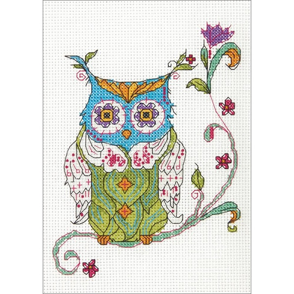 click here to view larger image of Blooming Owl (counted cross stitch kit)