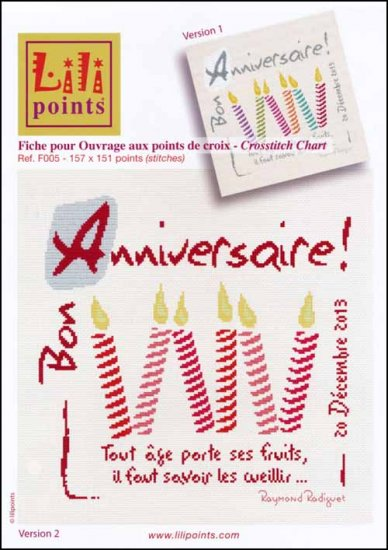 click here to view larger image of Bon Anniversaire (Happy Birthday) (chart)