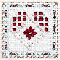 click here to view larger image of Poinsettia Heart Kit - Beyond Cross Stitch Level 5 (Hardanger and Cut Work)