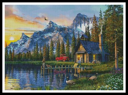 click here to view larger image of Sunset Log Cabin (Large)  (Dominic Davison) (chart)