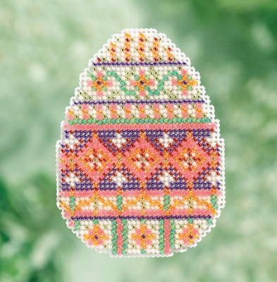 click here to view larger image of Trellis Egg - Spring Bouquet Seasonal Ornament (counted cross stitch kit)