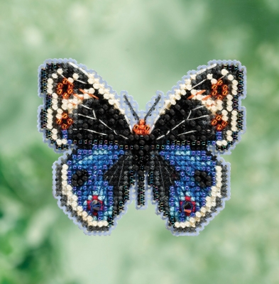 click here to view larger image of Blue Pansy Butterfly - Spring Bouquet Seasonal Ornament (counted cross stitch kit)