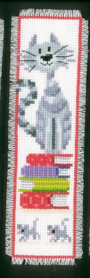 click here to view larger image of Cat On Book Pile Bookmark (counted cross stitch kit)