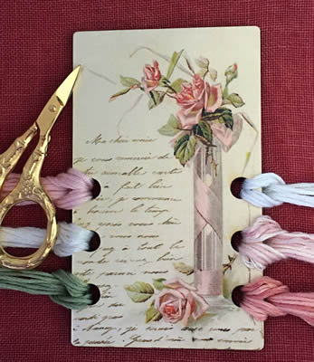click here to view larger image of Love Roses Vintage Postcard Threadkeep (accessory)