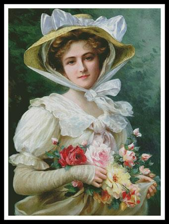 click here to view larger image of Elegant Lady With a Bouquet Of Roses - Large (chart)
