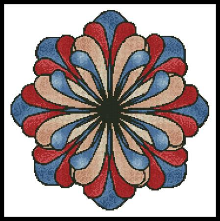 click here to view larger image of Stained Glass Flower - Blue (chart)