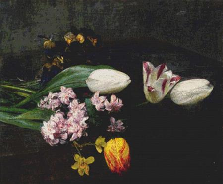 click here to view larger image of Tulips and Pansies On A Table (chart)