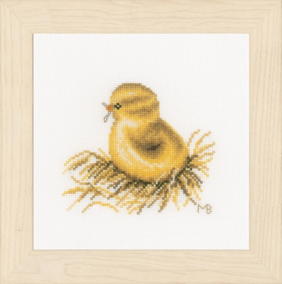 click here to view larger image of Little Chick - With Worm (counted cross stitch kit)