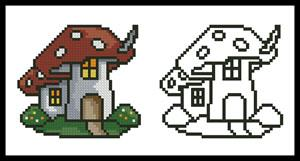 click here to view larger image of Mushroom House - Color With Cross Stitch Collection (chart)