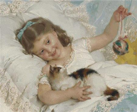 click here to view larger image of Girl Playing With A Kitten, A (chart)