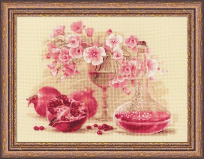 click here to view larger image of Pink Pomegranate (counted cross stitch kit)