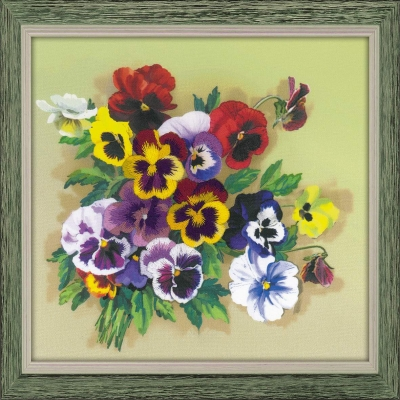 click here to view larger image of Pansies - Satin Stitch (stamped cross stitch kit)