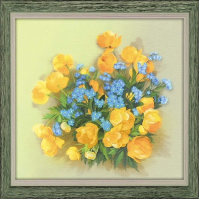 click here to view larger image of Globe Flowers - Satin Stitch (stamped cross stitch kit)