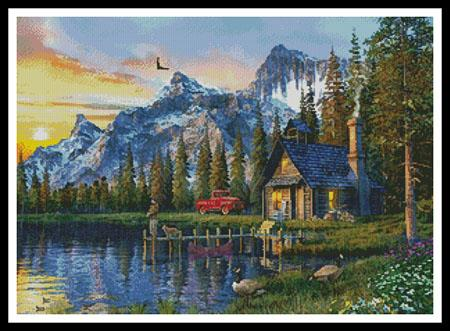 click here to view larger image of Sunset Log Cabin  (Dominic Davison) (chart)