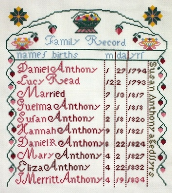 click here to view larger image of Susan B Anthony Sampler (counted cross stitch kit)