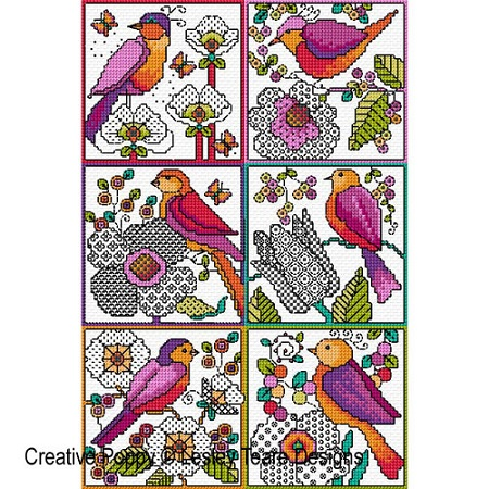 click here to view larger image of Blackwork Flowers With Birds (chart)